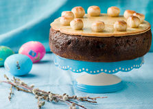 Simnel cake .Traditional English easter cake with marzipan. Selective focus Stock Photo