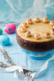 Simnel cake .Traditional English easter cake with marzipan. Stock Photography