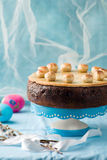 Simnel cake .Traditional English easter cake with marzipan. Royalty Free Stock Photos