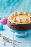 Simnel cake .Traditional English easter cake with marzipan. Royalty Free Stock Photo
