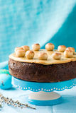 Simnel cake .Traditional English easter cake with marzipan. Royalty Free Stock Image