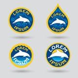 Simning- eller för sportklubba logo med delfinillustrationen Fotografering för Bildbyråer