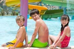 simning för barnpölglidbana royaltyfria foton