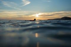 Simningaktivitet på semester för bränninglägersommar med barnet arkivfoto