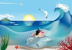 Simningbarn med delfiner 2 royaltyfri illustrationer