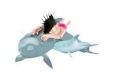 Simningbarn med delfiner royaltyfri illustrationer