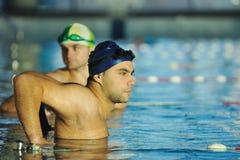 Simningracevinnare Fotografering för Bildbyråer