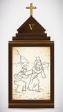 Simon помощи Иисуса Cyrene носит крест, иллюстрацию вектора Стоковое Изображение