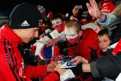 Simon Ammann avec les ventilateurs polonais de brancher de ski Images libres de droits
