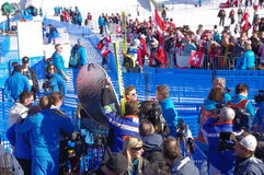 Simon Ammann, un pullover de ski suisse Photographie stock libre de droits