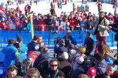 Simon Ammann, un pullover de ski suisse Photographie stock