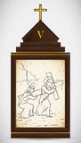 Simon av Cyrene hjälper Jesus Carry korset, vektorillustration Fotografering för Bildbyråer