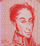 Simon Bolivar. On 5 bolivares 1989 banknote from Venezuela. One of the most important leaders of Spanish America's successful struggle for independence Royalty Free Stock Photos