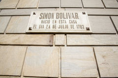 Simon Bolivar birthplace house, Caracas, Venezuela. Simon Bolivar birthplace house. The museum's exhibits include period weapons, banners and uniforms. His ashes Royalty Free Stock Photography
