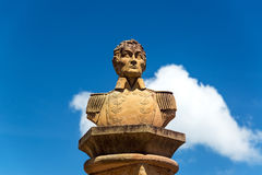 Simon Bolivar Bust. Bust of the liberator Simon Bolivar in the town of Barichara, Colombia Stock Images