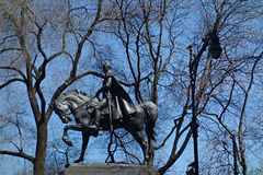 Simon Bolivar Statue. A statue of Simon Bolivar, who played a key role in Latin America's  struggle for independence from the Spanish Empire, in Central Park Stock Photo