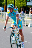 Simon Clarke from Astana leaving the race Stock Images