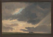 Simon Denis - puesta del sol en Roman Campagna foto de archivo