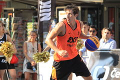Simon Finzgar - 3x3 basketball. Simon Finzgar from Trbovlje team in 3x3 streetball competition held in Prague on 9.8.2015 Royalty Free Stock Photo