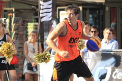 Simon Finzgar - 3x3 basketball. Simon Finzgar from Trbovlje team in 3x3 streetball competition held in Prague on 9.8.2015 Stock Image