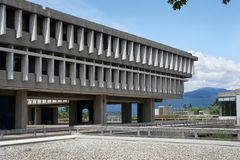 Simon Fraser university. Has a spectacular mountain top campus that takes students away from the urban bustle as seen in Vancouver Stock Photos