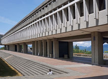 Simon Fraser university. Modern quadrangle with mountain background Stock Photo
