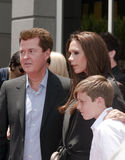 Simon Fuller Hollywood Walk of Fame Star Ceremony. Simon Fuller with Victoria Beckham and her son posing at the Simon Fuller Hollywood Walk of Fame Star Ceremony royalty free stock photos