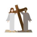 Simon help jesus carry croos- via crucis shadow Royalty Free Stock Images