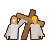 Simon help jesus carry cross line Royalty Free Stock Photos