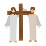 Simon help jesus carry cross- via crucis Royalty Free Stock Photo