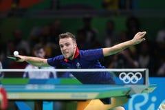 Simon léger jouant le ping-pong aux Jeux Olympiques à Rio 2016 Photographie stock