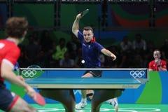 Simon léger jouant le ping-pong aux Jeux Olympiques à Rio 2016 Photo libre de droits