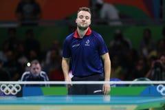 Simon léger jouant le ping-pong aux Jeux Olympiques à Rio 2016 Photo stock