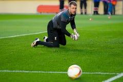 Simon Mignolet-spelen bij de Europa gelijke van de Ligahalve finale tussen Villarreal CF en Liverpool FC Royalty-vrije Stock Foto's