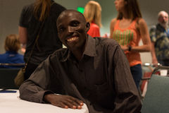 Simon Njoroge , kenyan marathon runner attends a press conferenc Royalty Free Stock Photos
