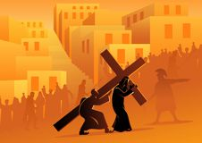 Free Simon Of Cyrene Helps Jesus Carry His Cross Stock Photography - 143372742
