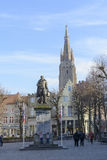 Simon Stevin statue in Bruges Royalty Free Stock Photo