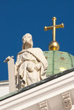 Simon the Zealot. One of the statues of the Twelve Apostles at the apexes and corners of the roofline of Helsinki Cathedral, Finland Royalty Free Stock Image