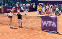 Simona Halep BRD OPEN WTA. Simona Halep at BRD OPEN WTA - kids day Royalty Free Stock Photos
