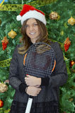 Simona Halep with Christmas Tree Background Stock Image