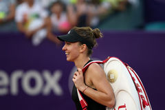 Simona Halep. Leaves the tennis pitch, at the end of a tennis match counting for BRD Bucharest Open Wta Tour, BNR Arena, Bucharest, Romania, 10th July 2014 Stock Images