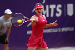 Simona Halep. Hits a forehand, during a tennis match counting for BRD Bucharest Open Wta Tour, BNR Arena, Bucharest, Romania, 9th July 2014 Stock Images