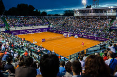 Simona Halep and Lara Arruabarrena during QF of Bucharest Open WTA Stock Images