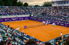 Simona Halep and Lara Arruabarrena during the QF of Bucharest Open WTA Royalty Free Stock Photography