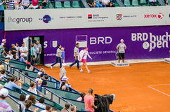 Simona Halep making her entrance at QF of Bucharest Open WTA. Simona Halep and Lara Arruabarrena during the QF of Bucharest Open WTA, July the 11th, 2014, tennis Royalty Free Stock Photo