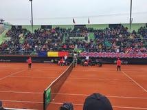 Simona Halep mot Johanna Konta i den Fed Cup matchen Royaltyfria Bilder