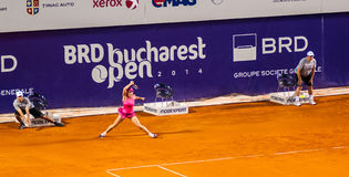 Simona Halep during the QF of Bucharest Open WTA. July the 11th, 2014, tennis match between Simona Halep and Lara Arruabarrena Stock Image