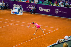 Simona Halep during the QF of Bucharest Open WTA. July the 11th, 2014, tennis match between Simona Halep and Lara Arruabarrena Stock Photography