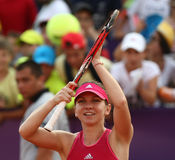 Simona Halep. Reacts, during a tennis match counting for BRD Bucharest Open Wta Tour, BNR Arena, Bucharest, Romania, 9th July 2014 Stock Image