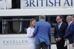 Simona Halep returns home with Wimbledon trophy. Simona gets off British Airways plane royalty free stock photos
